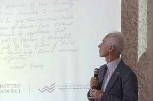 Wykład prof. Żylicza o Leonidzie Hurwiczu. Fot. Janusz Rudziński / Muzeum UW