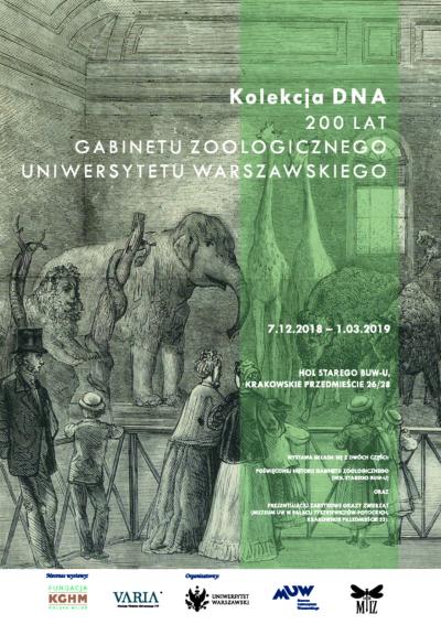 Grafika Wojciecha Gersona z 1869 roku w szarym kolorze przedstawiająca Gabinet Zoologiczny Uniwersytetu Warszawskiego. Przedstawia klkoro ludzi oglądających spreparowane zwierzęta stojące w obszernym wnętrzu. Wśród zwierząt znajdują się słoń, dwie żyrafy, dwa żubry, lew i łoś.