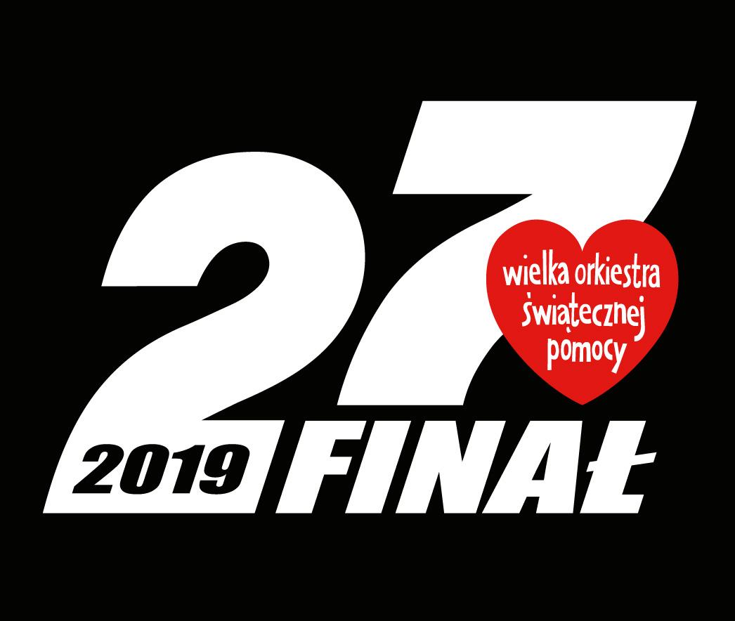 Czarny plakat z białym napisem 27 finał 2019, wypełniający większośc plakatu. Z prawej strony przedstawiono logo akcji, czyli napis wielka orkiestra świątecznej pomocy wpisany w czerwone serce.